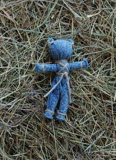 Купить Bear - игрушка, медведь, голубой джинс, джинс