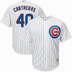 Mens Chicago Cubs #40 Willson Contreras White Home Majestic Cool Base Jersey