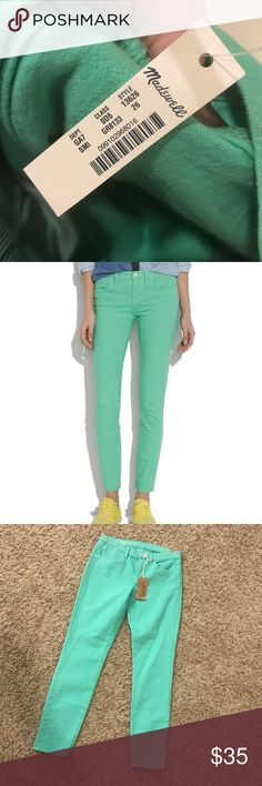 Madewell Skinny Skinny Jeans Brand new with tags! Super cute minty green color Madewell Jeans Skinny