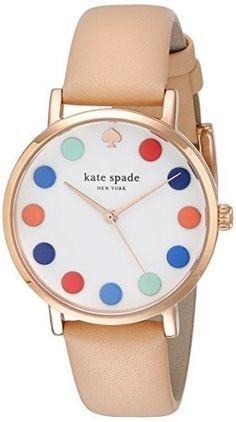 'metro' dot dial leather strap watch, 34mm, Women's, Multi