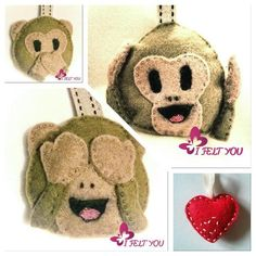 """Emoji+scimmiette+""""non+vedo""""""""non+sento""""""""non+parlo""""+di+I+Felt+YOU+su+DaWanda.com"""