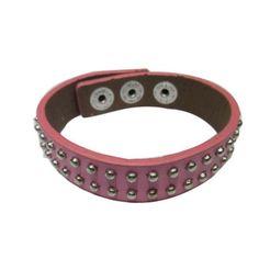 Pink Leather with Rivet Bracelet GBR10056