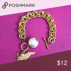 North Carolina NC gold toggle bracelet NC gold toggle bracelet. Purchased from local boutique and never ended up wearing. Would make a cute gift! *fashion jewelry* Jewelry Bracelets