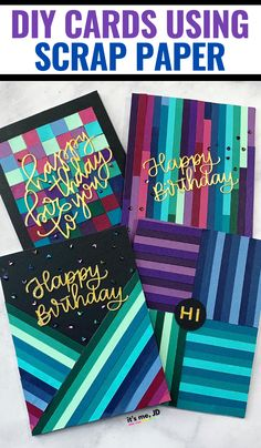Use scrap paper (or not) to create handmade cards. These modern DIY card ideas use up colorful cardstock for eye-catching paper crafts. Paper Cards, Diy Cards, Diy Craft Projects, Craft Tutorials, Gift Card Presentation, Easy Paper Crafts, Paper Strips, Homemade Cards, Scrapbook Paper