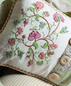 Jacobean Tangle by Hazel Blomkamp. Kit available for purchase… Cushion Embroidery, Jacobean Embroidery, Types Of Embroidery, Crewel Embroidery, Vintage Embroidery, Ribbon Embroidery, Cross Stitch Embroidery, Embroidery Patterns, Machine Embroidery