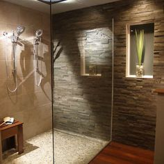 stone and pebble tile make a natural choice for bathroom