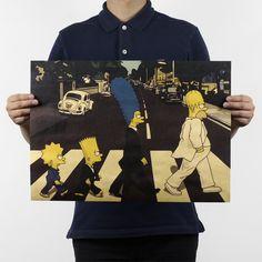 51x36cm Cross The Street Road Cartoon Beatles The Simpsons Kraft Paper Bar Poster Retro Poster Decorative Painting Wall Sticker