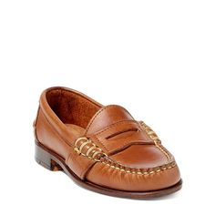 Boys Little Kid's Edric Calfskin Penny Loafer Mens Blue Dress Shoes, Boy Shoes, Leather Company, Penny Loafers, Women Brands, Dust Bag, Footwear, Ralph Lauren, Lewiston Maine