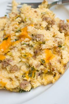Sausage and Grits Breakfast casserole-This is freaking amazing... seriously! We followed the recipe to a T, although it did not need 45 minutes to cook. So so good. It's also great leftover.