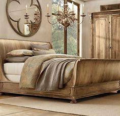 sleigh bed - Restoration Hardware --- I love Restoration Hardware!