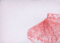 Lisa Solomon - bed drawing : texas hold em [red], 2006, watercolor, acrylic, and thread/embroidery on duralar, 9 x 12 inches