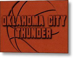 Thunder Metal Print featuring the photograph Oklahoma City Thunder Leather Art by Joe Hamilton