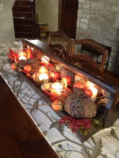 Fall centerpiece from old wood tool box Old Tool Boxes, Wood Tool Box, Wooden Tool Boxes, Wood Boxes, Wooden Box Centerpiece, Diy Centerpieces, Table Decorations, Wood Box Decor, Fall Floral Arrangements
