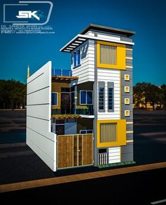 introducing modern house exterior elevation in front . indian house by Er. Village House Design, Bungalow House Design, House Front Design, Modern House Design, House Paint Exterior, Dream House Exterior, Exterior Design, Exterior Stairs, Bungalow Exterior