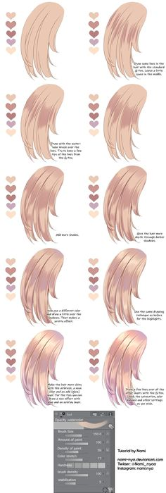 Hair coloring tutorial by nami-nya on deviantart art tips in 2019 髪 の 毛 塗 り Anime Tutorial, Drawing Hair Tutorial, Drawing Tips, Drawing Ideas, Anime Drawing Tutorials, Digital Painting Tutorials, Digital Art Tutorial, Art Tutorials, Anime Hair Color