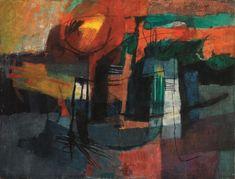 Afro Basaldella  (Udine 1912 - Zurigo 1976)  PAESAGGIO  tecnica mista su tela, cm 90x119,5  firmato     eseguito nel 1953