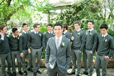 grey pullover sweaters for groomsmen