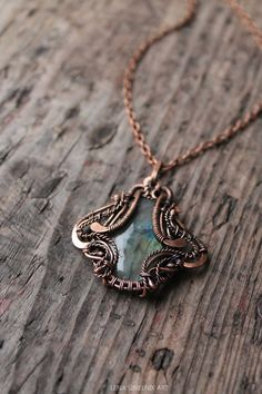 Labradoriter pendant, Wire wrap necklace, Wire wrapped jewelry handmade,copper pendant on Etsy, $69.00