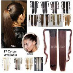 거짓 머리 꼬리 22 인치 55 센치메터 긴 스트레이트 포니 타이 자연 합성 가발 클립 머리 Extenison 코스프레 머리 빛깔