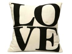 Chocolate Love Pillow Cover Appliqued Eco-Felt in Cocoa Brown and Antique White - 18 inches on Etsy, $65.00