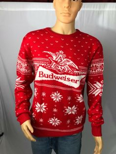 New Christmas Sweater - Men's Budweiser Beer - Ugly Holiday Party - Multi Sizes. mens ugly christmas sweater from top store Mens Ugly Christmas Sweater, Holiday Parties, Being Ugly, Men Sweater, Button Down Shirt, Beer, Pullover, Store, Sweatshirts