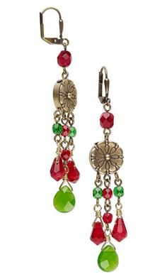 Earrings with Celestial Crystal® Drops, Czech Fire-Polished glass Beads and Antiqued Brass Spacers