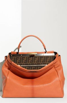 Fendi 'Peekaboo - Large' Goatskin Leather Satchel I'm loving the orange Fendi, Gucci, Fashion Handbags, Purses And Handbags, Fashion Bags, Luxury Handbags, Beautiful Handbags, Beautiful Bags, Cuir Orange