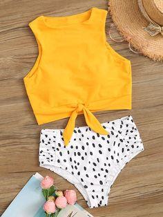 Knot Hem Top With Dot Print Panty Bikini Set Source by sarahhearts bathing suits Cheeky Swimsuits, 2 Piece Swimsuits, Bikini Swimwear, Cute Swimsuits High Waisted, Sporty Swimwear, Retro Swimwear, Summer Swimwear, Swimwear Brands, Bandeau Bikini