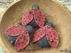 Set of 3 Hand Stitched Primitive  Lucky by harvestmoonprims, $13.50  Aren't these cute?