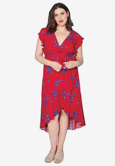 2e55bb4d4b Floral Midi Wrap Dress by ellos®