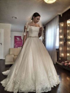 Lace Bridal Ball Gown,Strapless Wedding Dress,A Line Prom Dress with Beading,JD 165