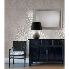 Kenneth James 56 sq. ft. Shirazi Silver Bohemian Floral Wallpaper-2618-21315 - The Home Depot