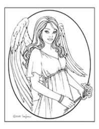 Angels, : Pretty Little Angels Praying Coloring Page | LineArt ...