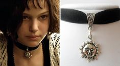 Have you noticed chokers are totally coming back into style? Here's an iconic one Natalie Portman once wore. Puddin Choker, 90s Tattoos, Ribbon Choker, Tattoo Choker, 90s Girl, Crystal Choker, Bead Crochet, Black Ribbon, Black Crystals
