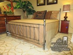 The Bennington metal bed in a king size. Super versatile look. While it is a king size, it gives the illusion of taking up less space with the open bars. At time of posting, we have other sizes available as well.