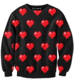 8-bit Pixelated heart sweatshirt for kids