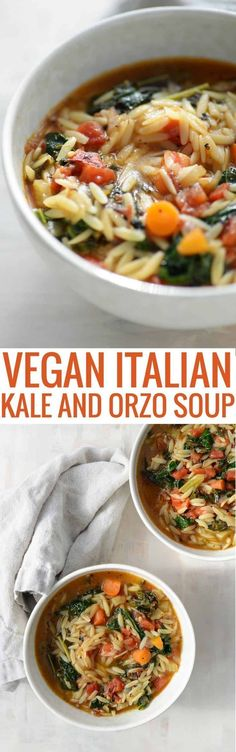 Tuscan Kale Soup. A delicious, healthy vegan soup with less than 250 calories a serving.