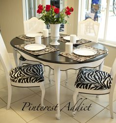 """Zebra chairs and table only thing I have ever seen where I liked the painted """"after"""" better than the natural """"before""""! The blackstripes on white is awesome. Animal Print Furniture, Animal Print Decor, Animal Prints, Dining Room Chairs, Table And Chairs, Dining Decor, Furniture Makeover, Diy Furniture, Zebra Chair"""