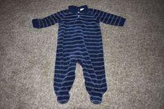 Ralph Lauren Infant Boys Footed Sleeper Navy Stripe Velour Pony Logo 9 Months #RalphLauren #OnePiece