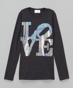 Another great find on #zulily! Dark Heather 'Love' Sequin Tee - Girls #zulilyfinds