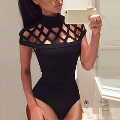 2017 Womens Choker High Neck Romper Bodycon Caged Sleeves Jumpsuit Bodysuit Tops