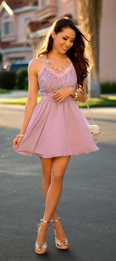 Adorable light purple top lace and sleeveless summer mini dress with cute leather hand bag