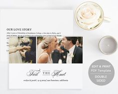 Printable Wedding Announcement Template Elopement DIY Tied The Knot Marriage Card PDF
