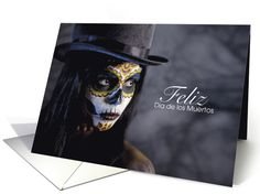 Dia De Los Muertos Sugar Skull Lady card - lovely top hatted woman with face painted to resemble a sugar skull. Very atmospheric. Great for #diadelosmuertos (the #dayofthedead)