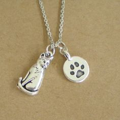 Silver Cat Charm Necklace by PlanetQ on Etsy