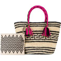 Yosuzi Kolet woven tote with pouch ($535) ❤ liked on Polyvore featuring bags, handbags, tote bags, black, tote hand bags, woven straw handbags, woven purse, pouch handbags and woven tote