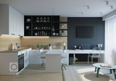 kitchen with livingroom and office