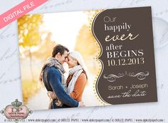 Fall Inspired Save The Date Photo Cards Style1 DIGITAL FILE - You Print DIY. $15.00, via Etsy.