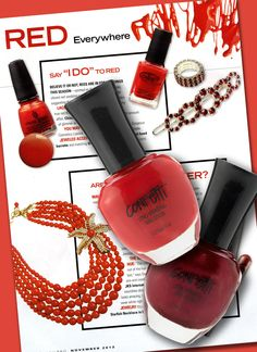 Confetti Trend alert RED!!  Straight from the pages of the pros, Nail Pro magazine says red is in for weddings & adds a splash of color to make a statement. Confetti Shades The Red Carpet & Crimson Cutie are must haves this season.