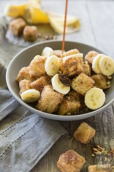 Pumpkin Spice Bananas Foster French Toast Bites // French toast is taken next level with these adorably delicious bites of heaven. You won't believe how wonderfully the flavors come together in this amazing fall inspired breakfast (that can be enjoyed all year long). The best bananas foster breakfast dessert around!   Tried and Tasty